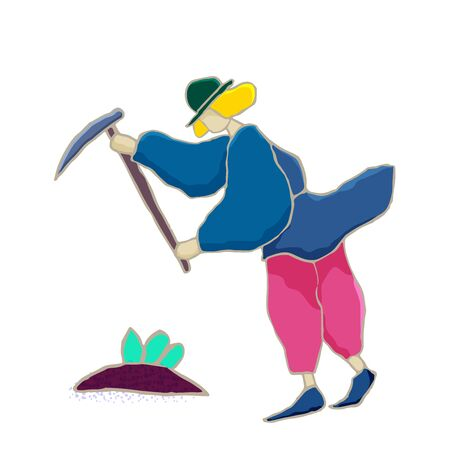 Vector flat illustration. Gardener is engaged in agricultural work: planting and caring for trees, vegetables, harvesting. Autumn theme.