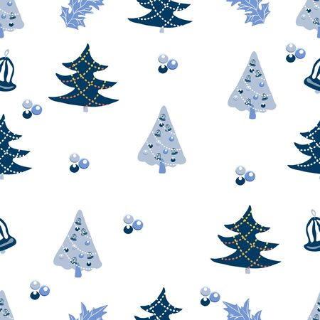 Cute Christmas background with fur trees, hollies, christmas balls. Seamless vector pattern in stylish pastel blue winter colors.
