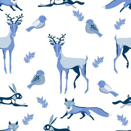 Cute Christmas background with fur trees, hollies, birds, foxes, deers, hares, christmas balls. Seamless vector pattern in stylish pastel blue winter colors. Illusztráció