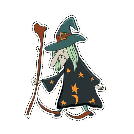 Cute Halloween character sticker. Vector illustration of witch.