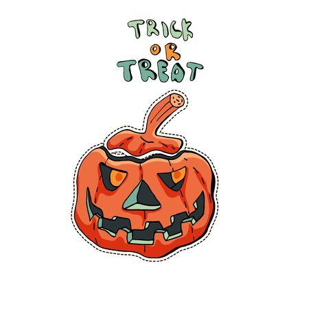 Angry Jack o Lantern. Cute Halloween character sticker. Vector illustration of pumpkin. Text Trick or treat. Illusztráció