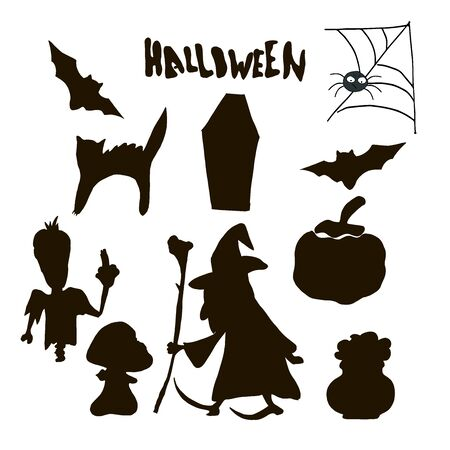 Halloween black silhouette character set for celebration and halloween party decoration.