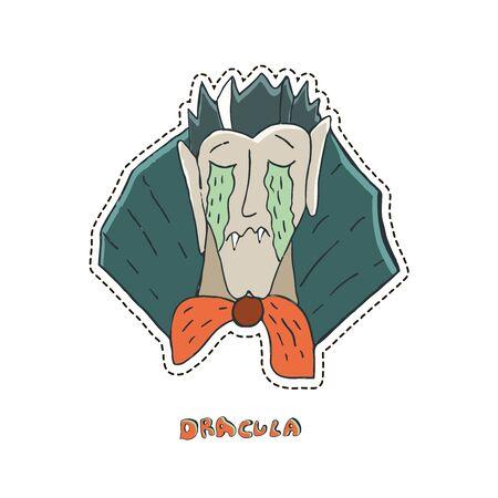 Crying vampire Dracula. Cute Halloween character sticker. Vector illustration.  Ilustracja