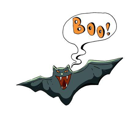 Cute Halloween character sticker. Vector illustration of bat.