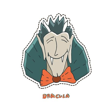 Laughing vampire Dracula. Cute Halloween character sticker. Vector illustration.