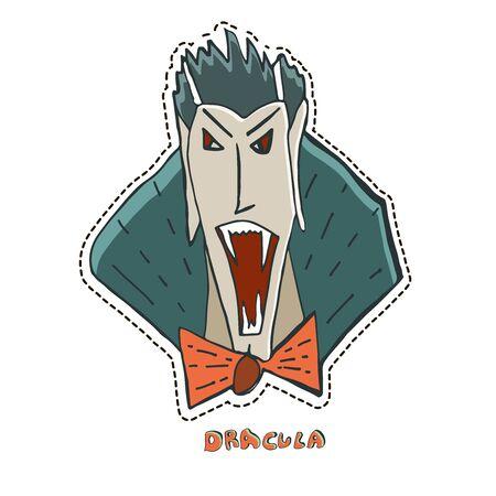 Furious vampire Dracula. Cute Halloween character sticker. Vector illustration.