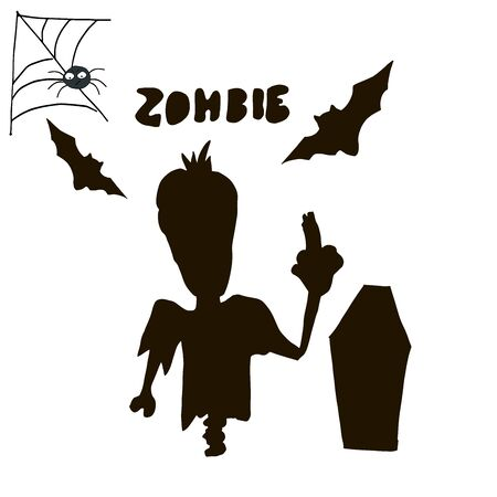 Halloween black silhouette character set for celebration, cards and halloween party decoration.