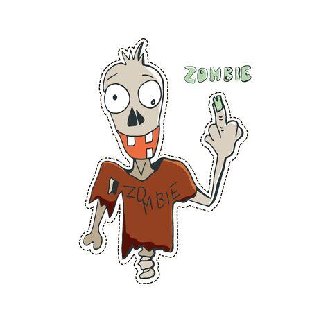 Cute Halloween character sticker. Vector illustration of zombie. Illusztráció