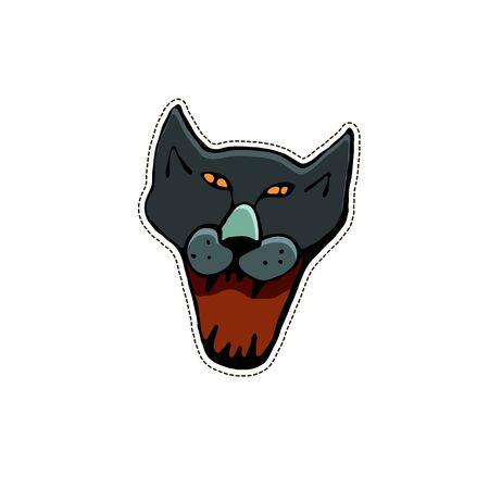 Cute Halloween character sticker. Vector illustration of evil black cat.