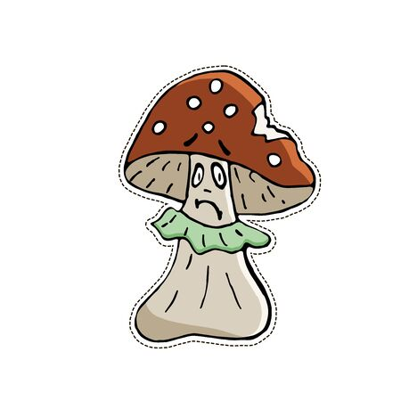 Cute Halloween character sticker. Vector illustration of mushroom.