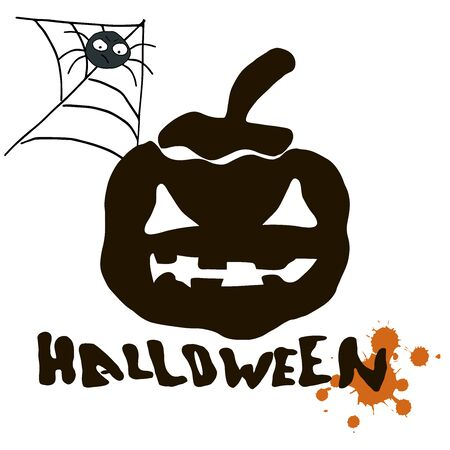 Stylish graphical grunge vector Halloween card with black silhouette of pumpkin, spider and text Halloween.