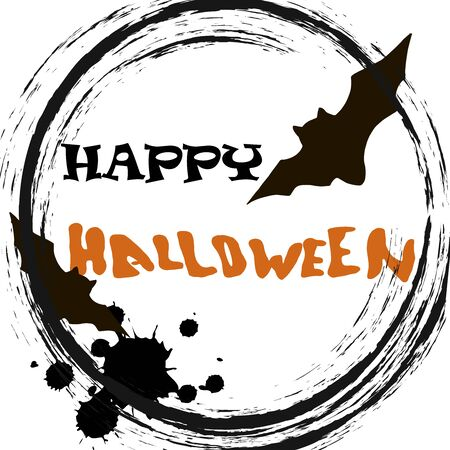 Stylish graphical grunge vector Halloween card with black silhouette of  bats and text Happy Halloween. Illusztráció
