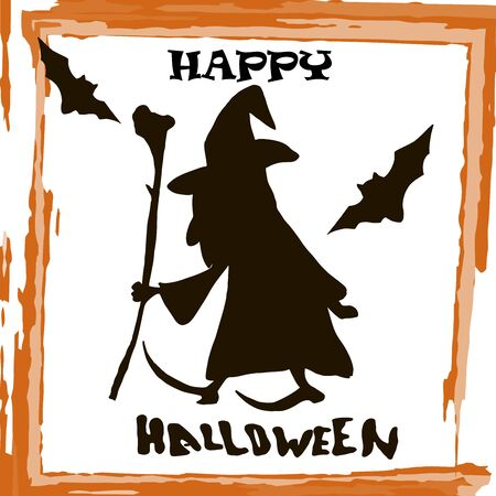 Stylish graphical grunge vector Halloween card with black silhouette of witch, bats and text Halloween.