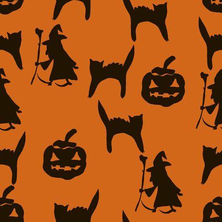 Halloween bezszwowe tło. Czarna sylwetka wiedźm, nietoperzy, pająków, dyni
