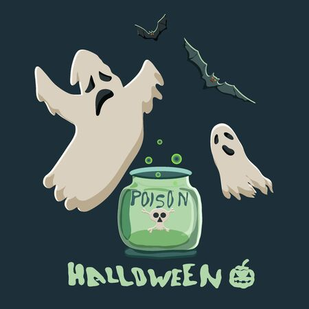 Cute vector Halloween illustration.  Flying ghosts and bats and magic potion and text Halloween.