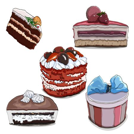 Vector set of mousse and bisquits cakes. American classic red velvet cake, and chocolate with meringue and strawberry mousse cakes. Illustrations for the design of the menu in the cafeteria. 免版税图像 - 132205937