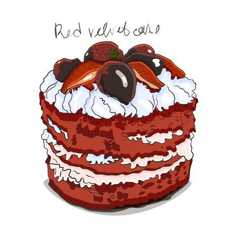 Gâteau de velours rouge, sur le dessus du gâteau le décor de fraises et chocolat. Vecteurs