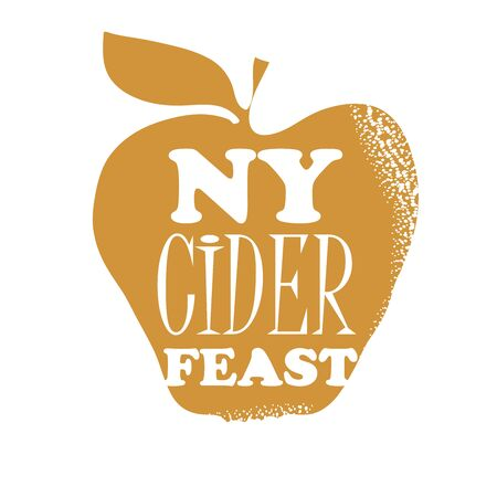 Poster for the New York Cider Week Festival. Vector illustration. Apples and bottle of cider. Text NY CIDER FEAST.
