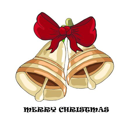Christmas and New Year golden bells with red bow and holly. Vector illustration.