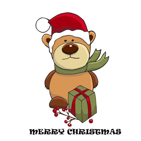 Christmas and New Year cute character. Vector illustration of Teddy bear in a green scarf and Santa hat. Greeting card