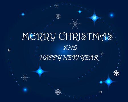 Urlaub-Vektor-Karte. Schneeflocken und leuchtende Partikel auf dem tiefblauen Hintergrund. Frohe Weihnachten und ein glückliches neues Jahr. Vektorgrafik