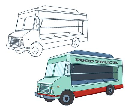 Food truck,sketch line art and colorful cartoon vector illustration.