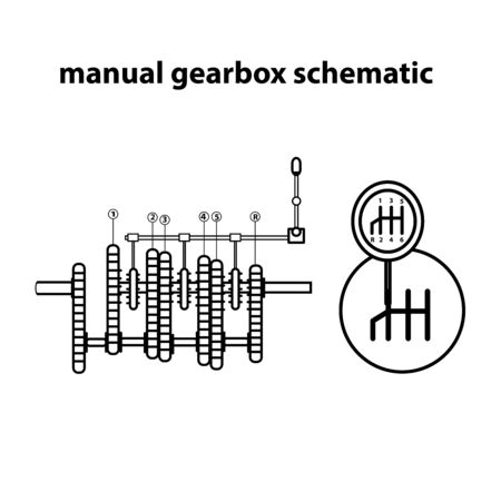 Manual gearbox schematic. Vector illustration. Icon.