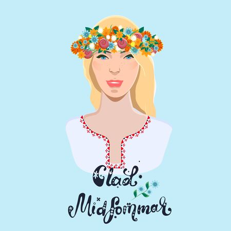 Midsummer holiday banner. Beautiful girl with floral wreath and text Glad Midsommar. illustration. Çizim