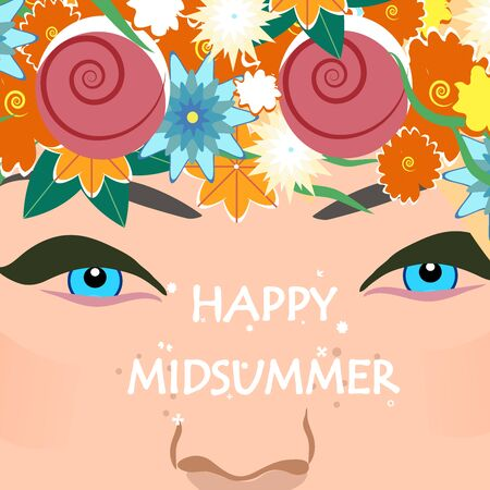 Midsummer holiday banner. Beautiful girl with floral wreath and text Happy midsummer. Vector illustration.
