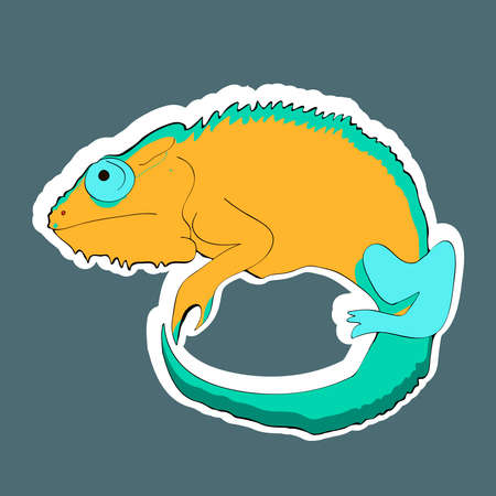 Reptile cartoon illustration. Chameleon sticker. Vector illustration.