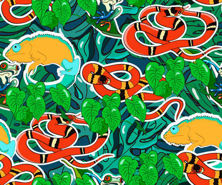 Tropical vector background. Cartoon reptiles and plants. Chameleons, coral snakes, tree frogs.