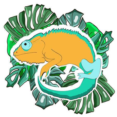 Reptile cartoon illustration. Chameleon on the palm leaves. Vector illustration. Vettoriali