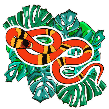 Reptile cartoon illustration. Coral snake on the palm leaves. Vector illustration.