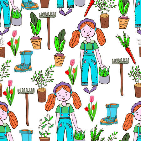 Gardening seamless pattern with garden elements: rake, shovel, seedlings, watering can, rubber boots, onions, carrots, beets garden gloves and flowers. Harvest time 向量圖像