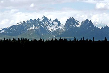 cloud capped: Glacier Alaska Mountain Near Denali Stock Photo