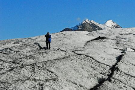 Standing on Matanuska Glacier Stock Photo