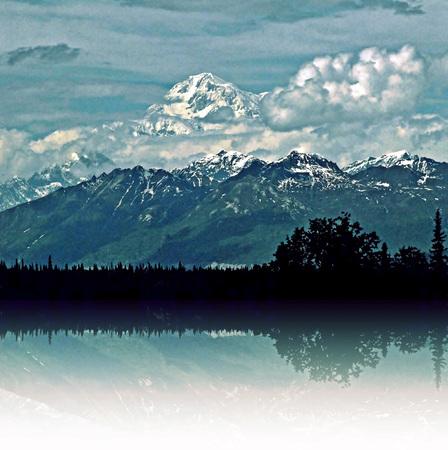 denali: Denali Mirrored in Reflection Stock Photo