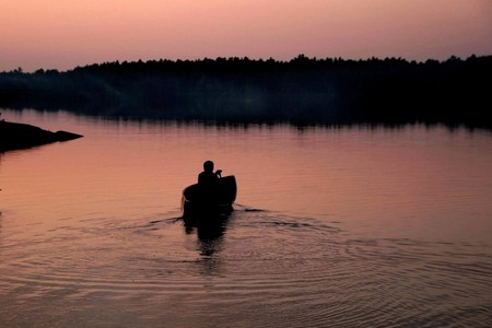 Canoe solo after sunset