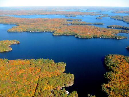 Aerial view of Great Lakes in fall colors