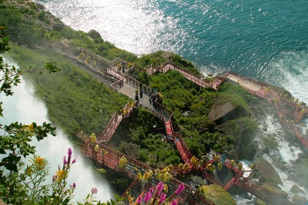 Tourists on American side of Niagara Falls viewing Bridal Veil Falls from above