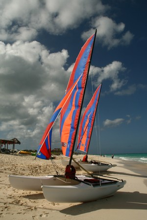 Two catamaran boats on the sandy shore