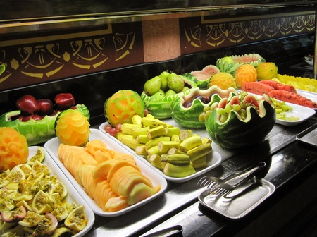 Decorative arrangement of fruits in a fruit salad bar Stock Photo