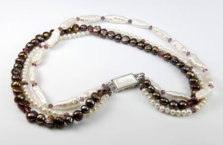 Neckless made of fresh water pearls Stock Photo
