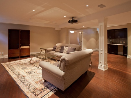 timeshare: Modern home entertainment room in the basement Stock Photo
