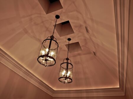 Closeup of elegant ceiling lights and shadows