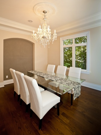 Side view of an elegant dining room in a luxury house