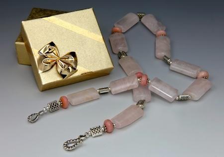 Semi-precious stone necklace and gift box Stock Photo