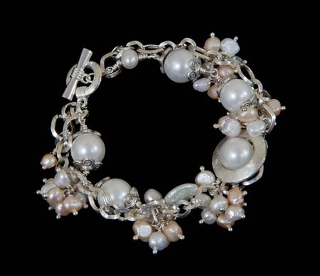 Pearl bracelet on black backgound Stock Photo - 13678197