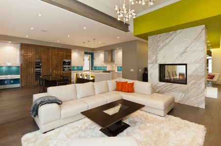 travertine house: Living room area in new modern house Stock Photo