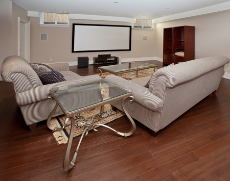 home theater: Basement home theater in new luxury house